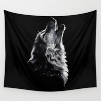 Wolf Wall Tapestry by Sandy Elizabeth
