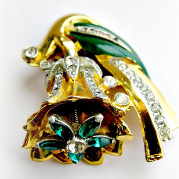 Coro Emerald Green Flower Trembler Adolph Katz Design, Vintage Rhinestone and Enamel, Art Deco Style