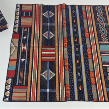 Set of 14 Vintage Linen Napkins Cloth Aztec Tribal Retro Geometric Print Pattern Native Navy Blue Orange Red Eclectic Bohemian Boho Decor