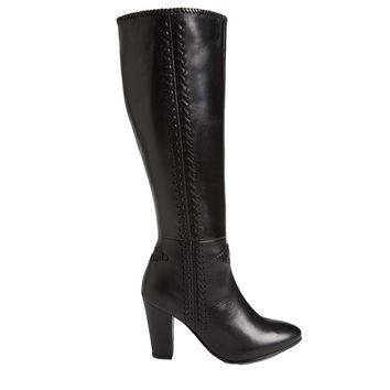 Seychelles Reserved- Black Leather Whipstitched Knee-High Boot