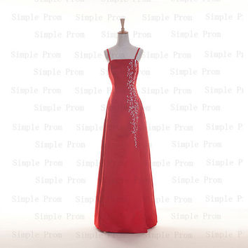 Custom A-line Straps Sleeveless Floor-length Satin Embroidery Fashion Prom Dress Bridesmaid Dress Formal Evening Dress Party Dress 2013