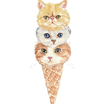 Cat Watercolor - Painting PRINT, Ice Cream Cone, Funny Cat, Kitchen Art, 5x7 Cat Painting