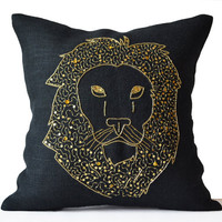 Lion Pillows -Animal Pillow Lion Embroidered In Gold Sequin -Black Burlap Pillows -Lion Pillow -Gold Pillows- Wildlife Pillows 18x18 -Gift