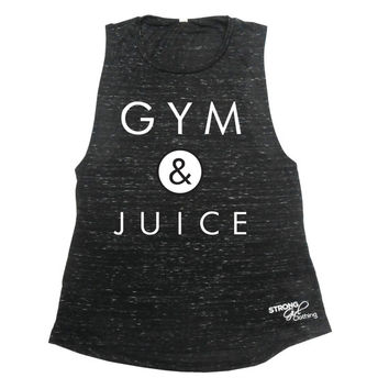 GYM & JUICE, Womens Muscle Tank, Womens Workout Tank, Workout Muscle Top, Eco Heather Workout Top, Funny Lifting Tank, Runners Tank