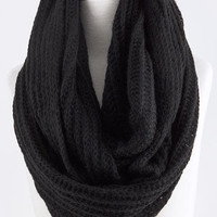 Black Skinny Cable Knit Infinity Scarf