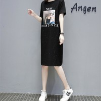 Women Loose Casual Personality Sequin Pattern Letter Print Short Sleeve T-shirt Dress