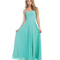 Mint Green Strapless Pleated Chiffon Long Dress 2015 Prom Dresses