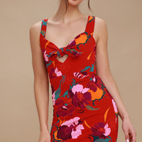 Sweet Cherry Red Floral Print Bodycon Dress