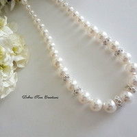 Swarovski White Pearl Crystal Pave Necklace Pearl Wedding Jewelry Graduated Pearl Bridal Necklace Bride Jewelry Cream Pearl Necklace Formal