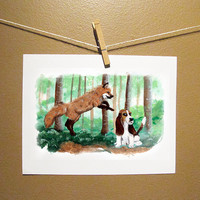Fox and the Hound Art Print Friends Forever 85 x11 by MayhemHere