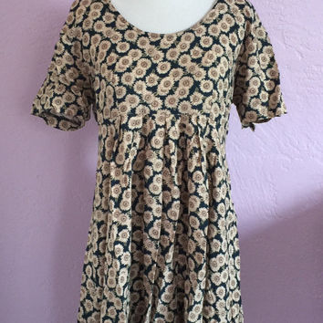 Vintage Early 90's Babydoll Dress. Vintage 90's Grunge Dress. Sunflower Print Babydoll Dress. Cotton Pullover Grunge Dress. 90's Dress.
