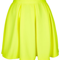 Fluro Yellow Pleated Skirt - Skirts - New In This Week - New In - Topshop USA