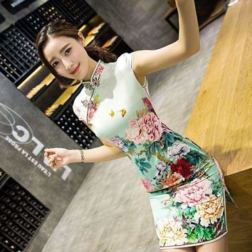 Traditional Daily Modern Cheongsam Chinese Dress Short Sleeve Qipao Mini Dress
