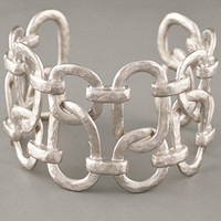 Kenneth Jay Lane Satin Silver Open Link Cuff | Kenneth Jay Lane | Rain Collection