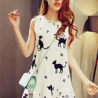 White with Cat Print Sleeveless Dress