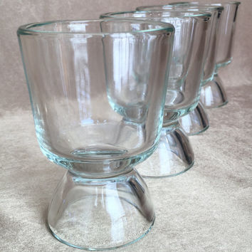 Bubble Base Glasses, 50's Barware, Thick Wall Glassware, Mid Century Bar, Pedestal Juice, Unique Design, Pedestal Whiskey, Vintage Glassware