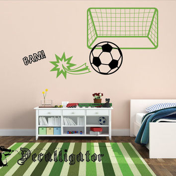 Wall Decal - Soccer Scene - Vinyl Sports Mural - Great for Kids' Rooms, Basements, or Playrooms [030]