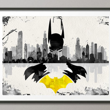 Batman Poster Watercolor Painting Print Marvel Gift Nursery Decor Wall Art Superhero Wall Decor Art Home Decor Wall Hanging Housewares