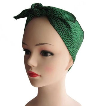 Green Leopard Fabric Head Wrap Scarf
