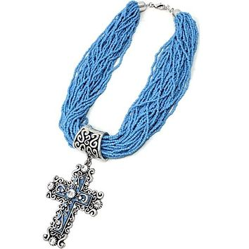High Polish Textured Cross with Multi Strand Seed Beads Lobster Cluster Necklace Set
