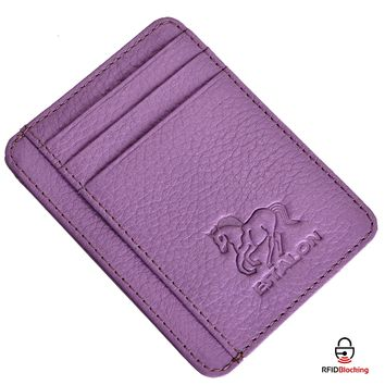 Estalon RFID Front Pocket Wallet Minimalist Wallets Leather Slim Wallet Money Clip RFID Blocking with Gift Box For Men and Women (Lilac Pebble)