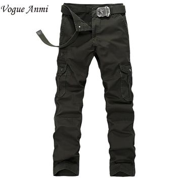 Vogue Anmi Brand Military Army Cargo Pants Plus Size Multi-pocket Overalls Trousers Men 4 Color Free Shipping 1516