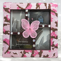 Camo Frame - Butterfly Frame - Butterfly Gifts - Collage Frame - Camo Accessories - Camo Gifts - Pink Camo - Picture Frame - Photo Frame
