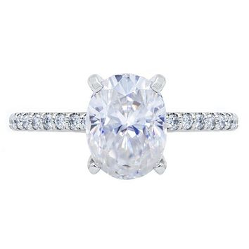 Oval Crushed Ice Moissanite 4 Prongs Diamond Accent Ice Cathedral Solitaire Ring
