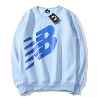 New Balance Plush Jacket Loose Round Neck Cotton Long Sleeve Sweatshirt Blue
