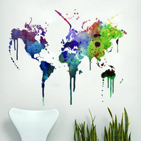 Wall World Map - Watercolor world map decal for housewares