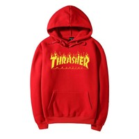 THRASHER Flame hooded Sweater Men and Women's Clothes Red