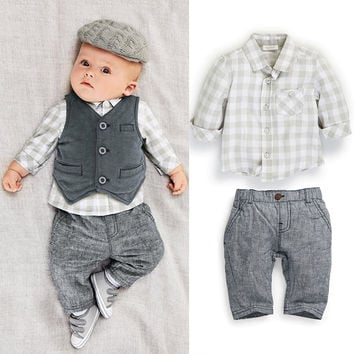 2017 baby boy clothing set  fashion autumn baby boy's clothing set vest and shirt and pants suit