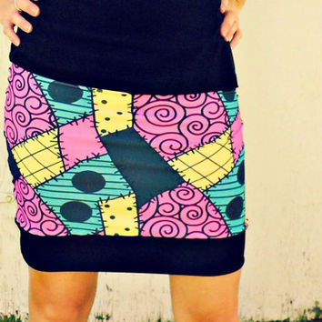 Sally patchwork mini Skirt Nightmare Before christmas