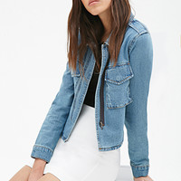 FOREVER 21 Cropped-Back Denim Jacket Denim