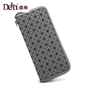 DELIN Female long contracted purse Geometric ling splicing zipper hand bag personality muti_function change rubik's cube package
