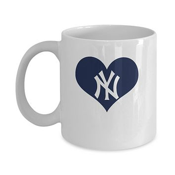 New York Baseball Navy Blue Heart Love Coffee Mug