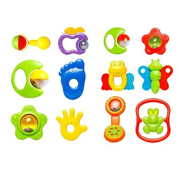Kids Baby Toys For Newborns 6pcs Plastic Educational Toys Hand Jingle Shaking Bell Rattles Music Rattle Toys for Children