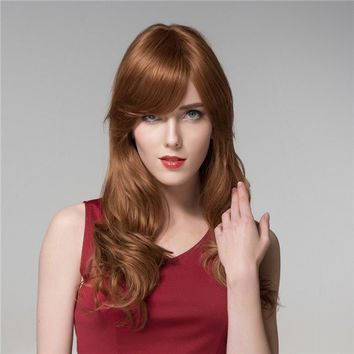 Long Human Virgin Remy Hair Wig Elegant Wavy Curly Mono Top Side Bang 9 Colors
