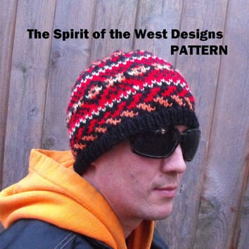 Western Sunset Hat Knitting Pattern - Toque, Beanie, Fair Isle / Stranded hat, adults, spring, summer, autumn, fall, adult winter unisex hat