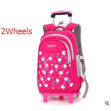School Backpack wheeled backpack Trolley s kid School Rolling backpack for girls Children luggage bag kids School Bags On wheels AT_48_3