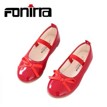 2017 Fashion Girls Casual Shoes Bowtie PU Leather Shoes for Girl 791a7482d5