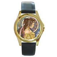 Art Nouveau Lady in Circle on Gold Watch w/ Citizen Works & Leather Bands *