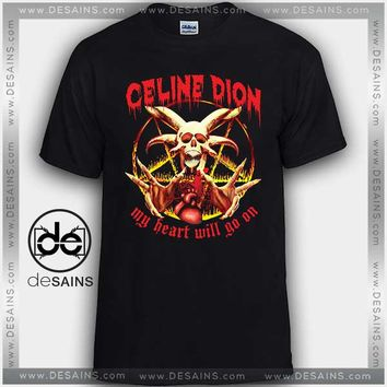 Cheap Graphic Tee Shirts Céline Dion My Heart Will Go On Skull