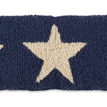 "Blue Stars Trilogy Lumbar Hooked Wool Pillow 8""L X 24""W"