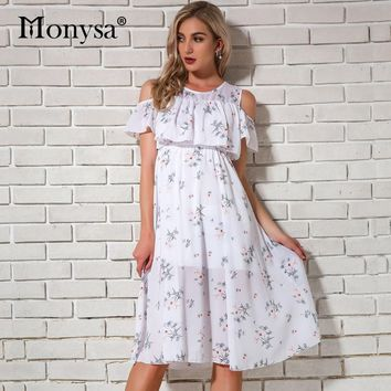 Cold Shoulder Dresses For Women Summer 2019 New Arrivals Floral Print Chiffon Dresses Women Knee Length Dress Casual Streetwear