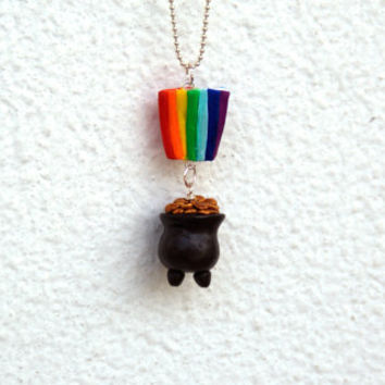 Pot Of Gold and Rainbow, Polymer Clay, Handmade Charm  Necklace