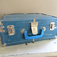 Small Suitcase Doll Case Small Luggage Metal Luggage Industrail Luggage Metal Storage Blue Storage Industrial Decor Blue Suitcase Doll Case