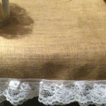 Shabby Chic Rustic  Burlap Table Runner with lace 14x96 SET of 5