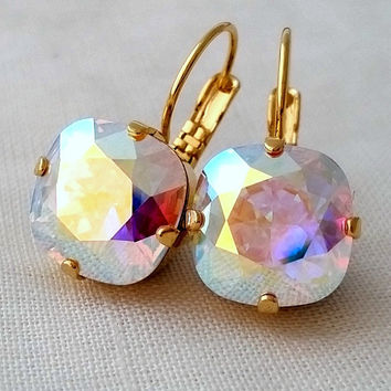 Aurora borealis crystal earrings, Swarovski earrings, Pastel Rainbow drop earrings, Aurora borealis earring, Bridesmaids gift, Gold / silver