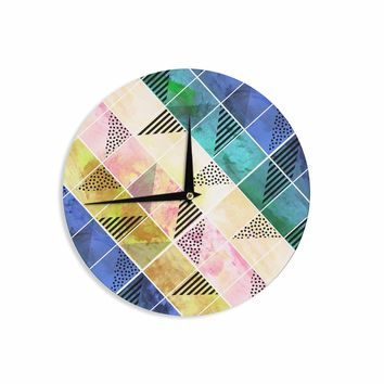 "bruxamagica ""Tartan Blue And Gold"" Coral Blue Abstract Pattern Digital Vector Wall Clock"